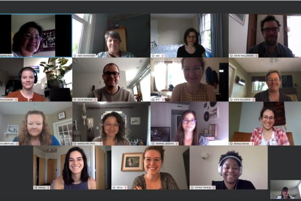 A screenshot of many lab members during a lab meeting that took place virtually.